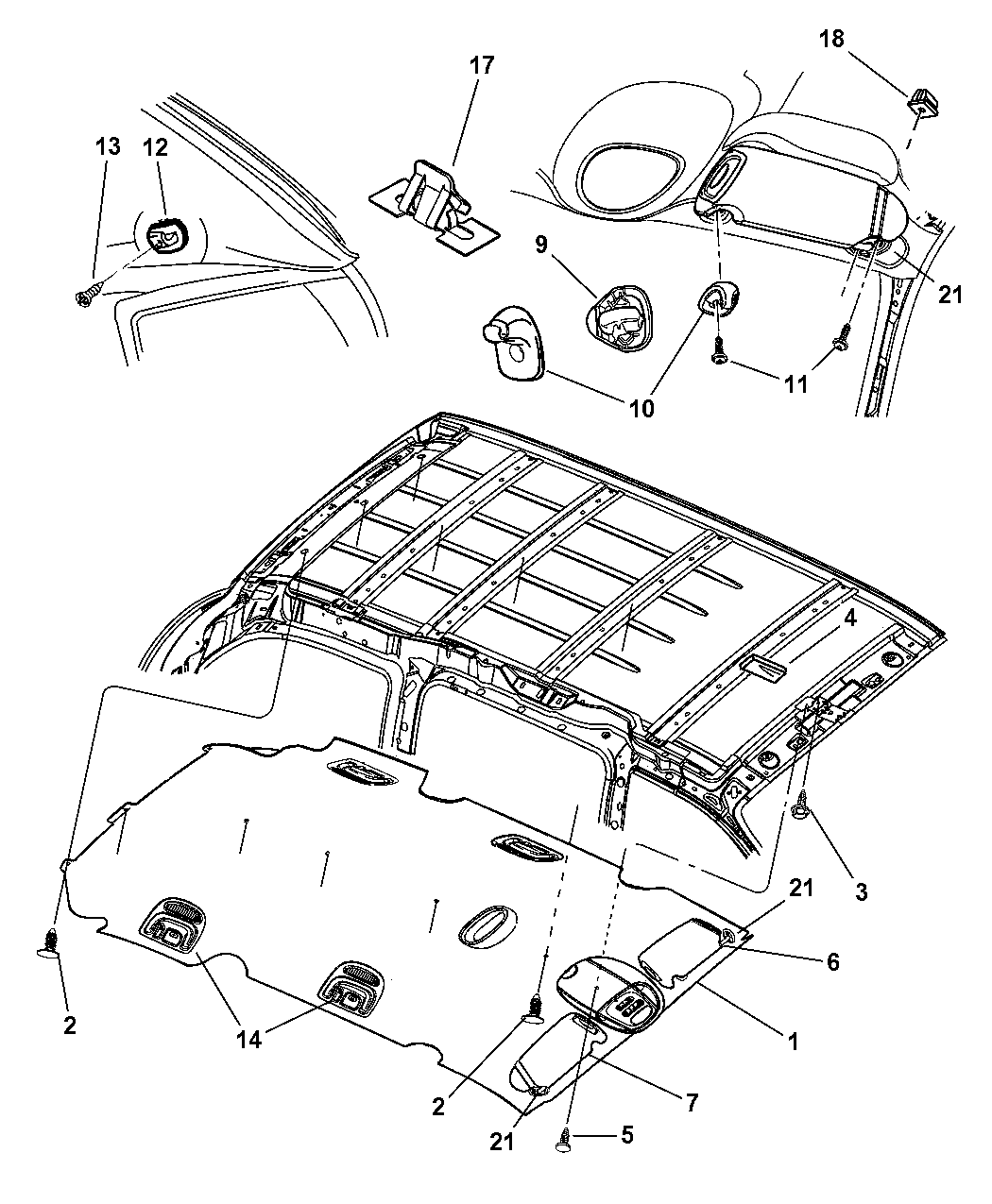 2002 Dodge Grand Caravan Headliner & Visor - Mopar Parts GiantMopar Parts Giant