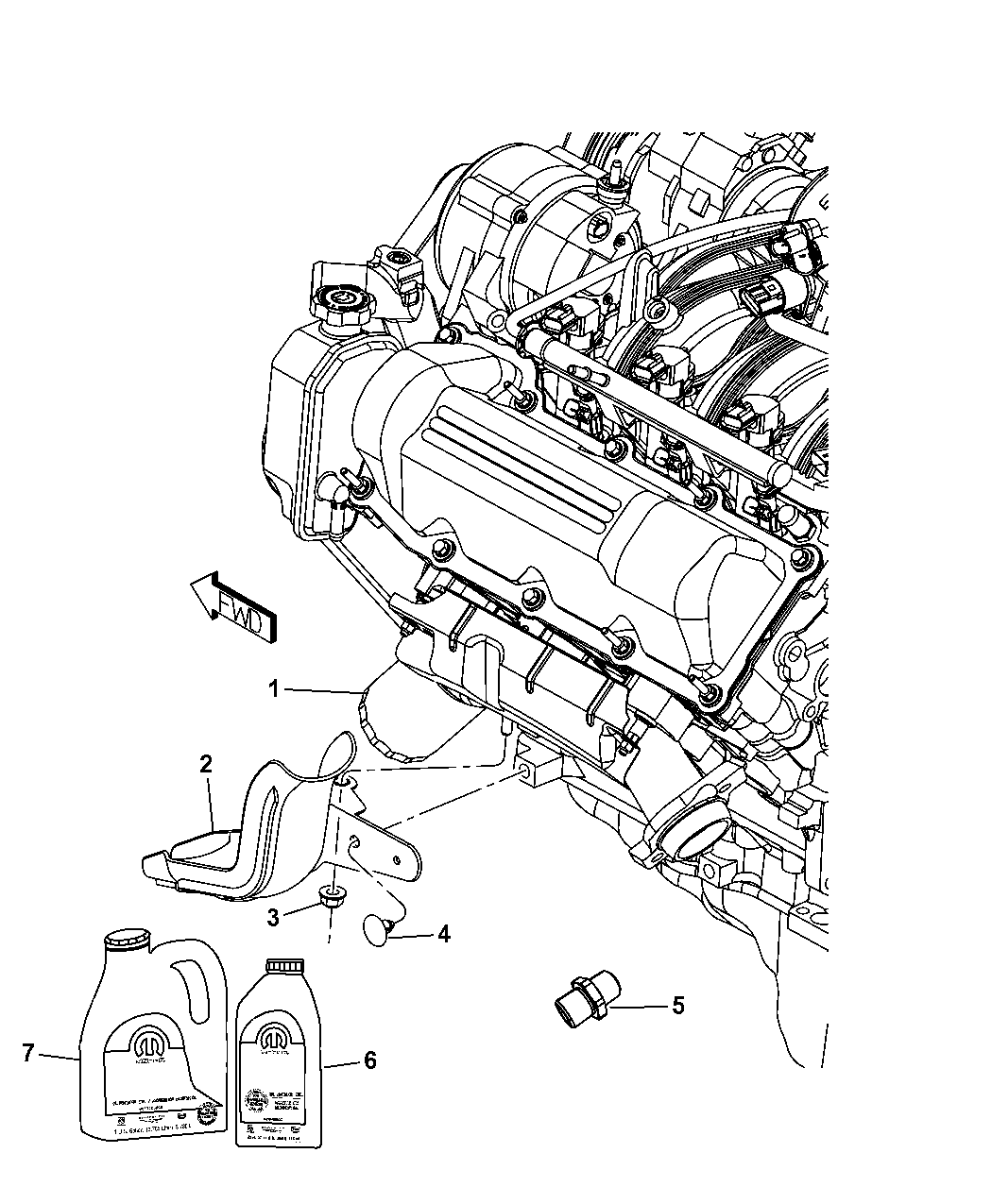 2012 Jeep Liberty Engine Oil Filter Housing Adapter And Splash Guard Diagram Thumbnail 1