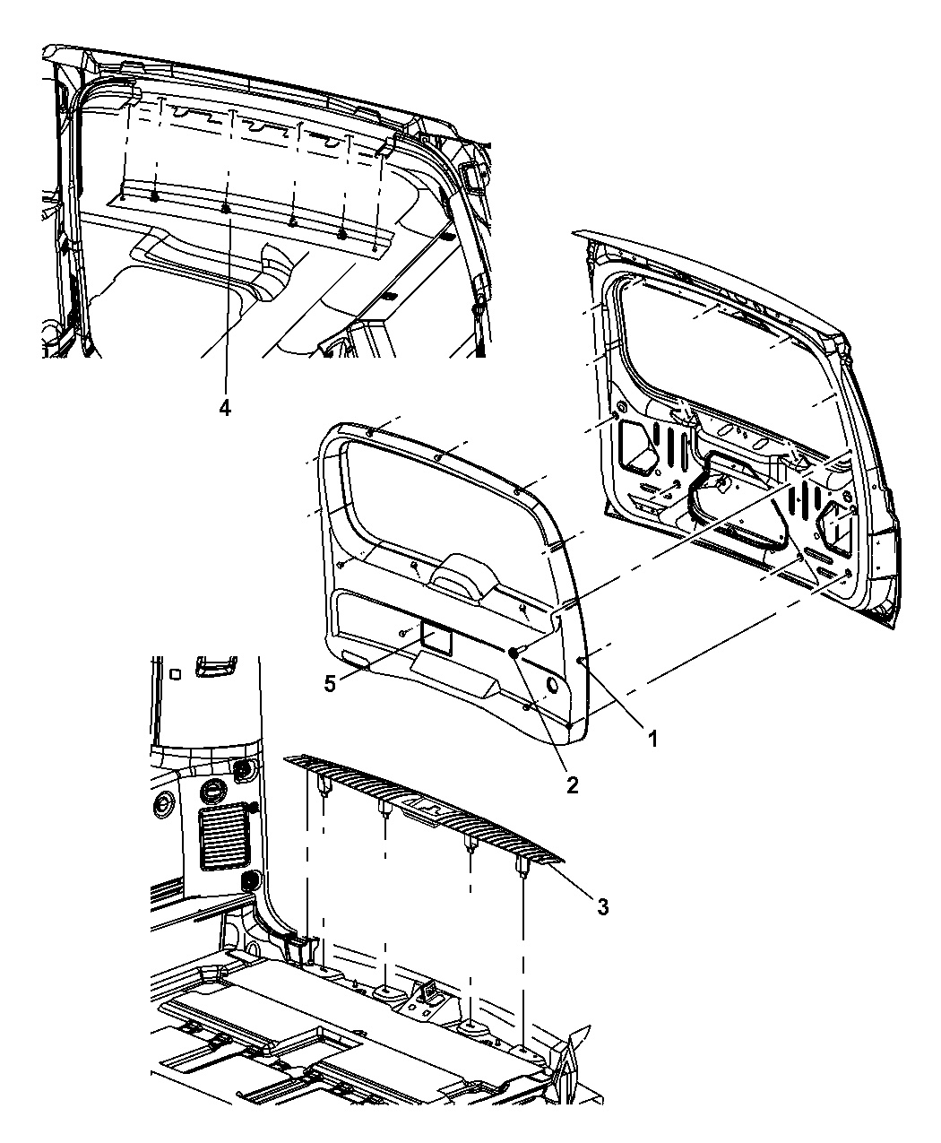 2007 jeep commander liftgate panel and scuff plate