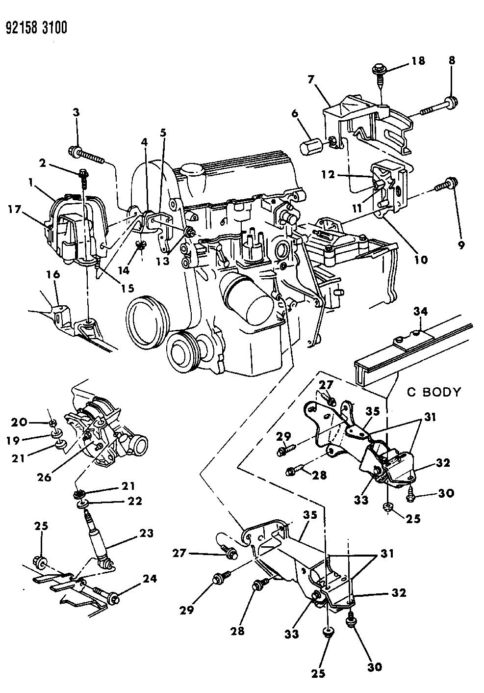 1992 Chrysler Lebaron Sedan Engine Mounting Mopar Parts Giant 3 8 Motor Mount Diagram Thumbnail