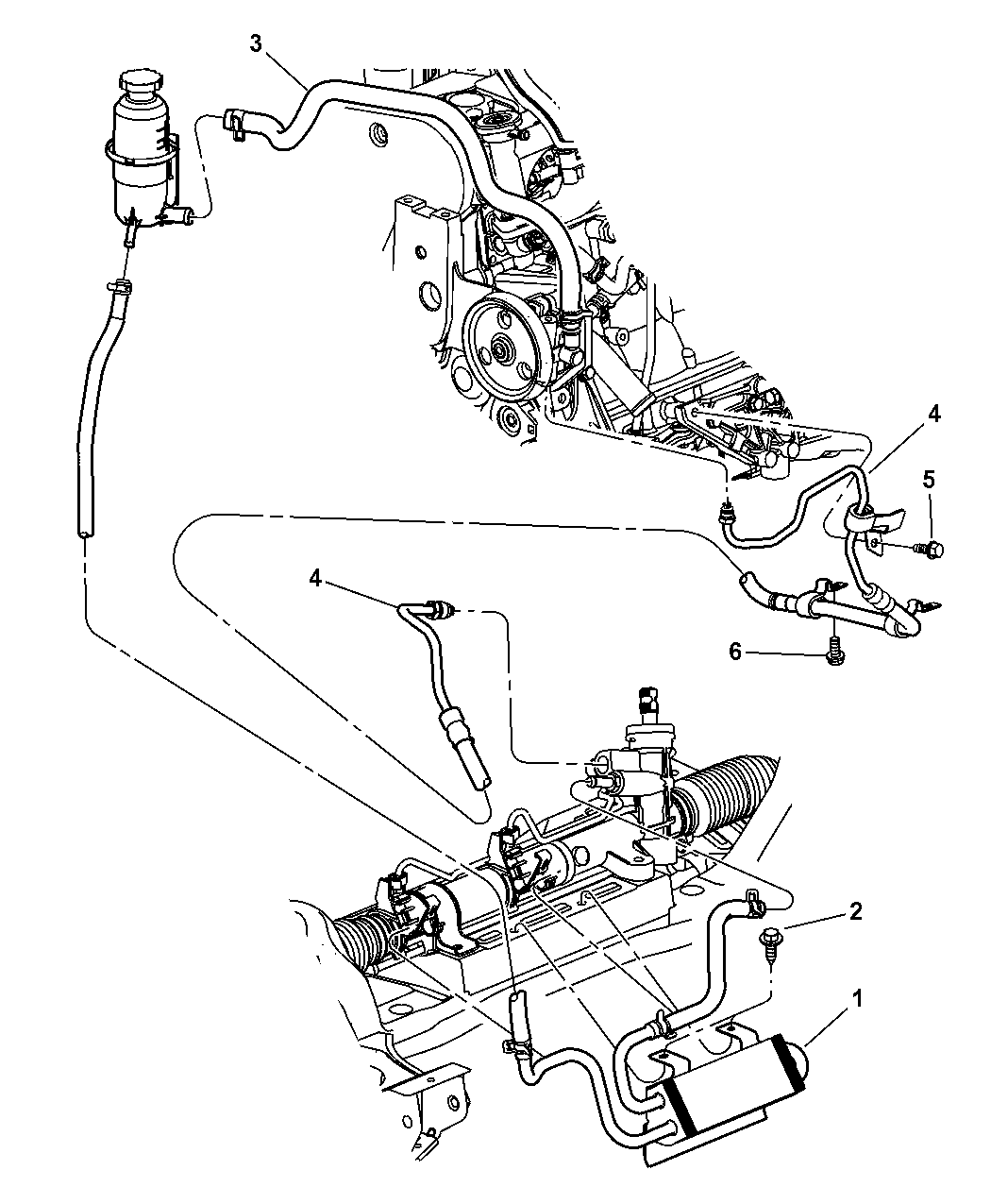 2002 chrysler pt cruiser power steering hoses