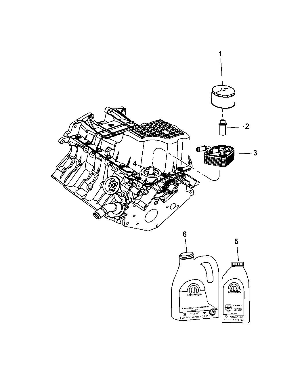2011 Dodge Nitro Engine Oil, Engine Oil Filter, Adapter And Splash Guard -  Thumbnail