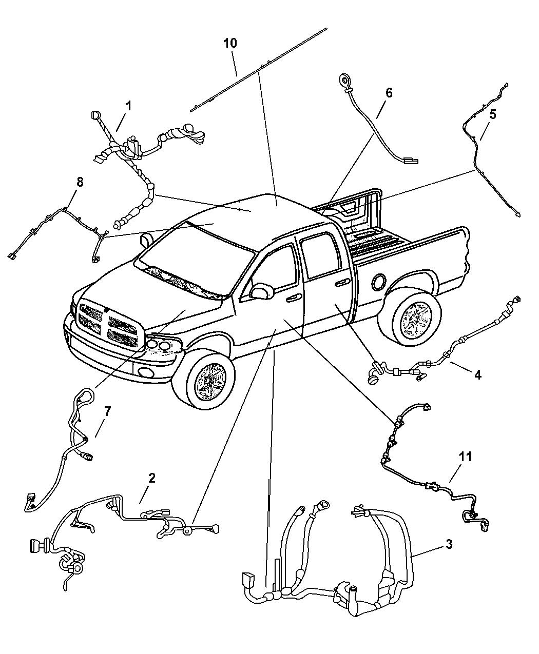 2007 Dodge Ram 1500 Wiring Body Front