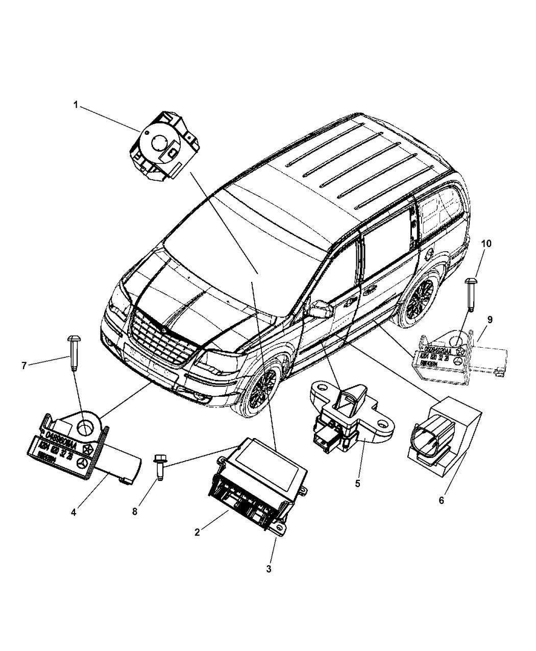 2015 dodge grand caravan air bag modules impact sensors \u0026 clock spring Brake Wiring Harness