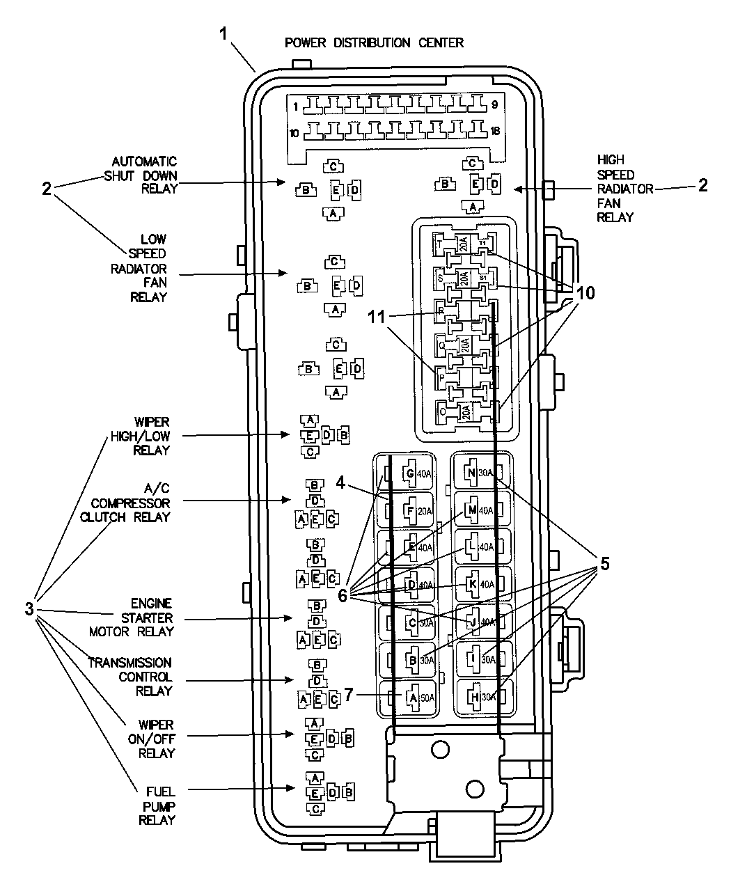 2004 dodge intrepid power distribution center - relays & fuses 1999 dodge intrepid fuse box diagram #6
