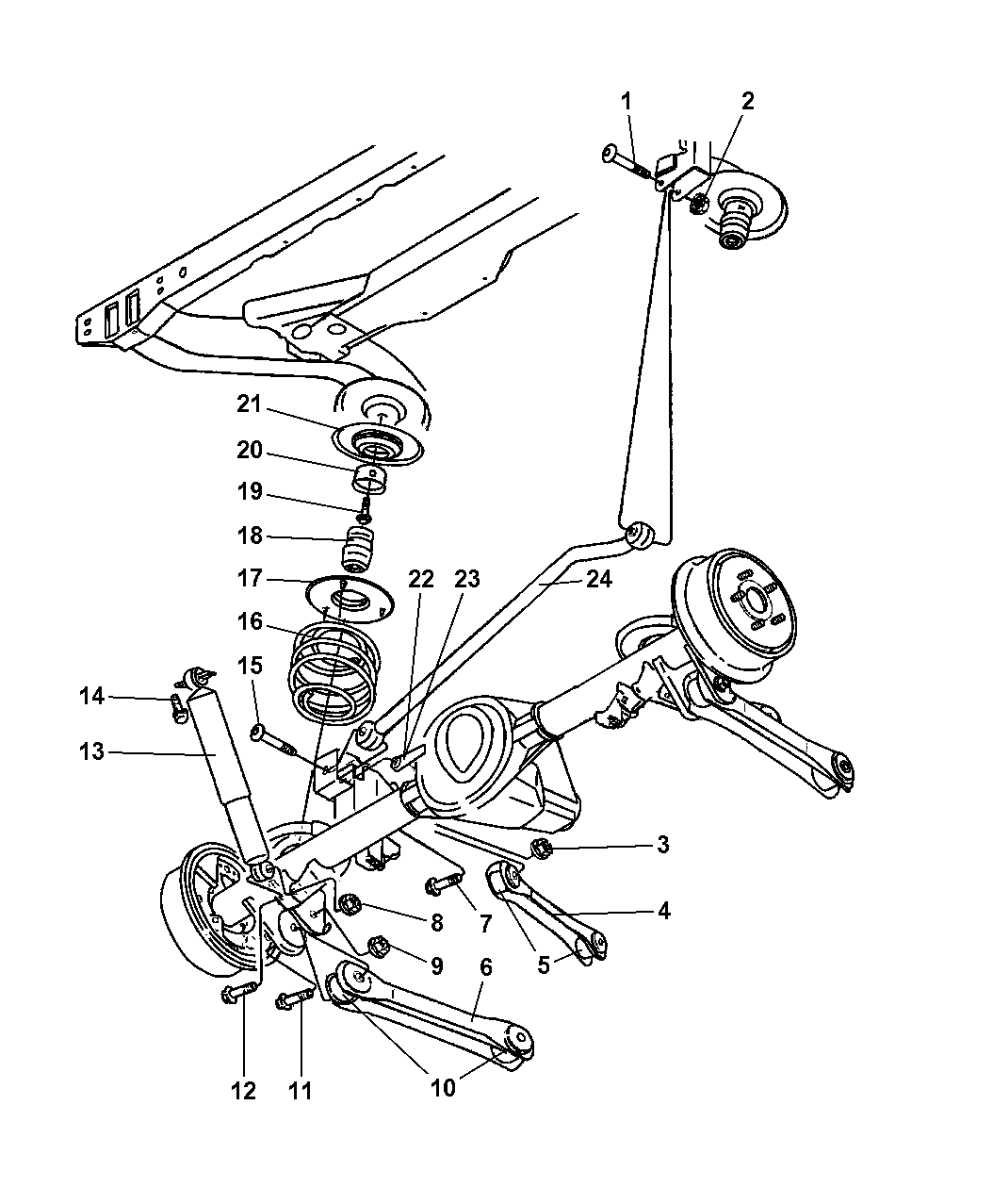 jeep suspension schematic 2004 jeep wrangler suspension - rear with shocks, springs ...