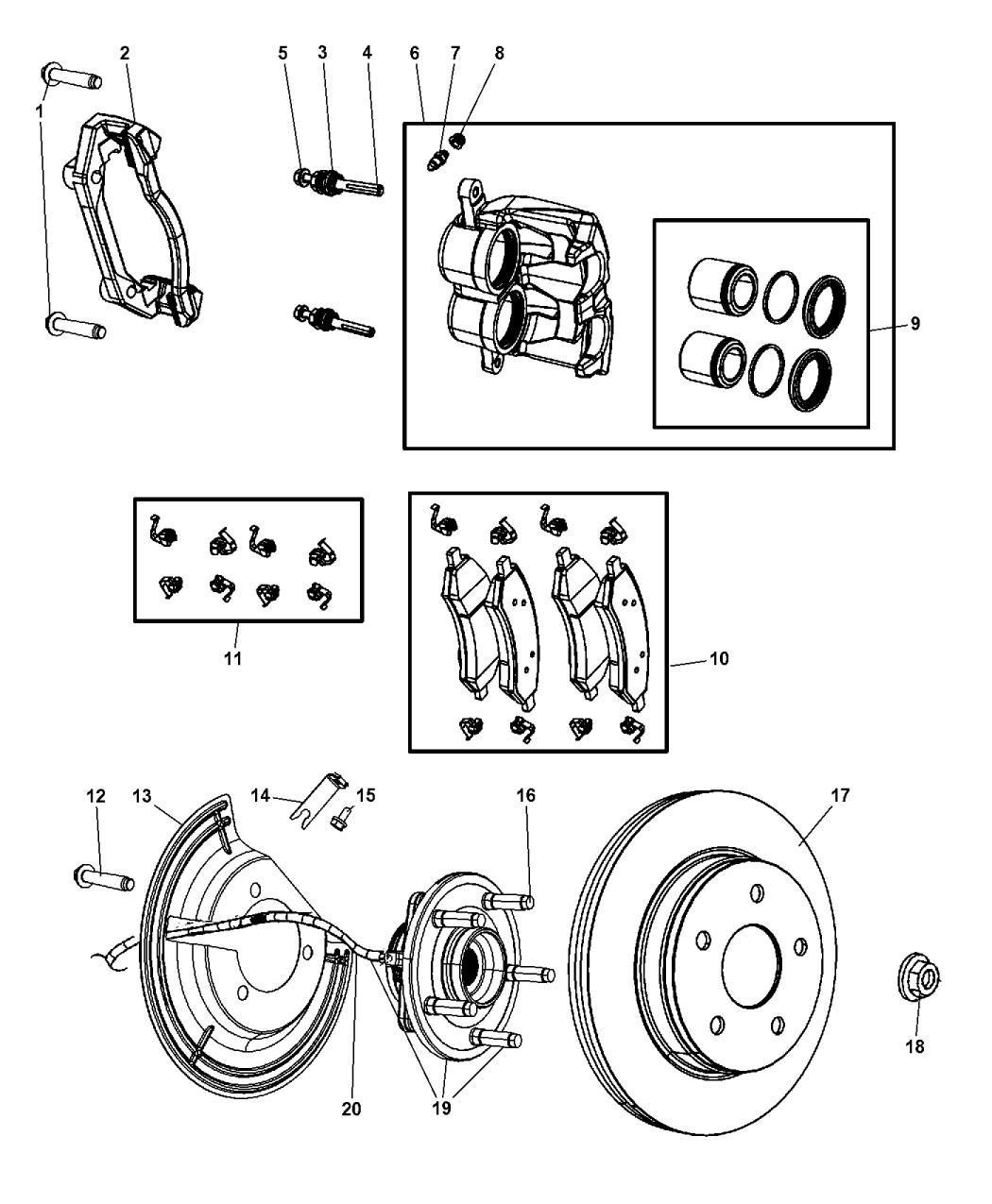 2009 dodge ram 1500 front brakes mopar parts giant. Black Bedroom Furniture Sets. Home Design Ideas