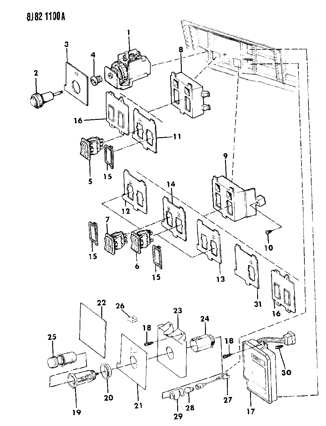 1990 jeep wagoneer instrument panel switches  u0026 cigar lighter