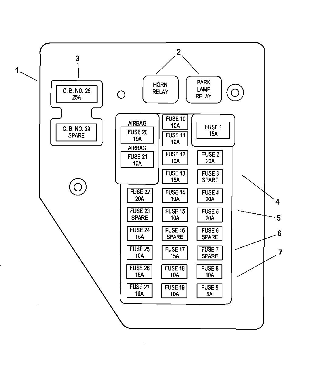 2004 dodge durango fuse box layout