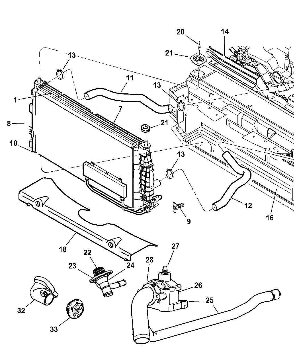 1999 Dodge Intrepid Radiator Related Parts