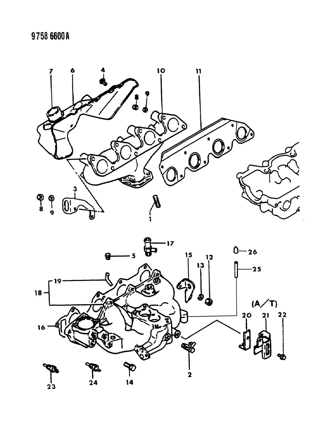 1989 Dodge Ram 50 Manifold Intake Exhaust Mopar Parts Giant 318 Engine Fuel System Diagram