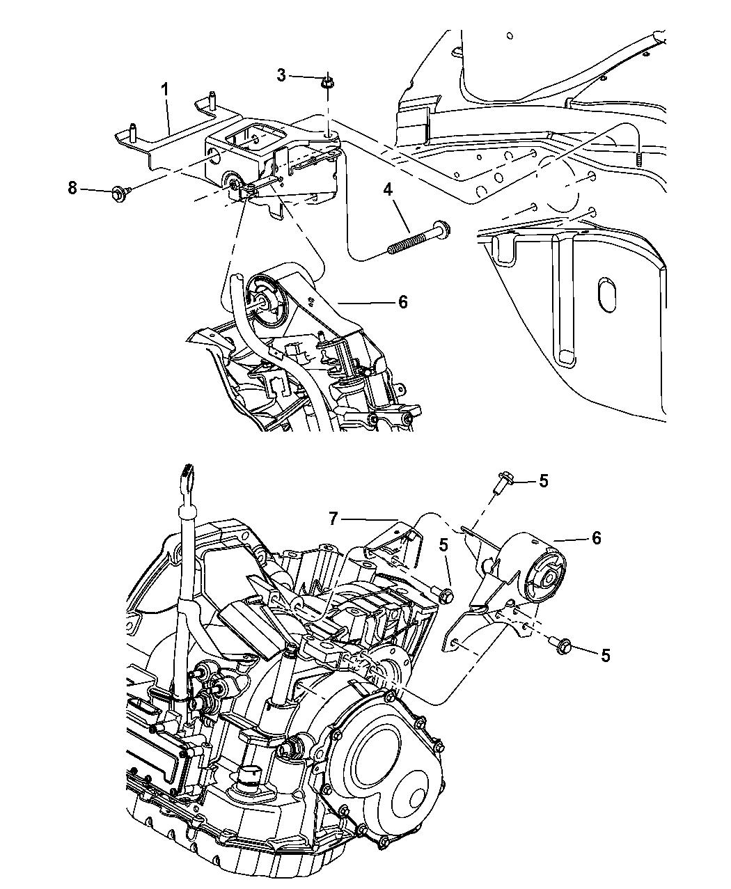 illustration(1 of 1): engine mounting transmission  2000 dodge neon  transmission