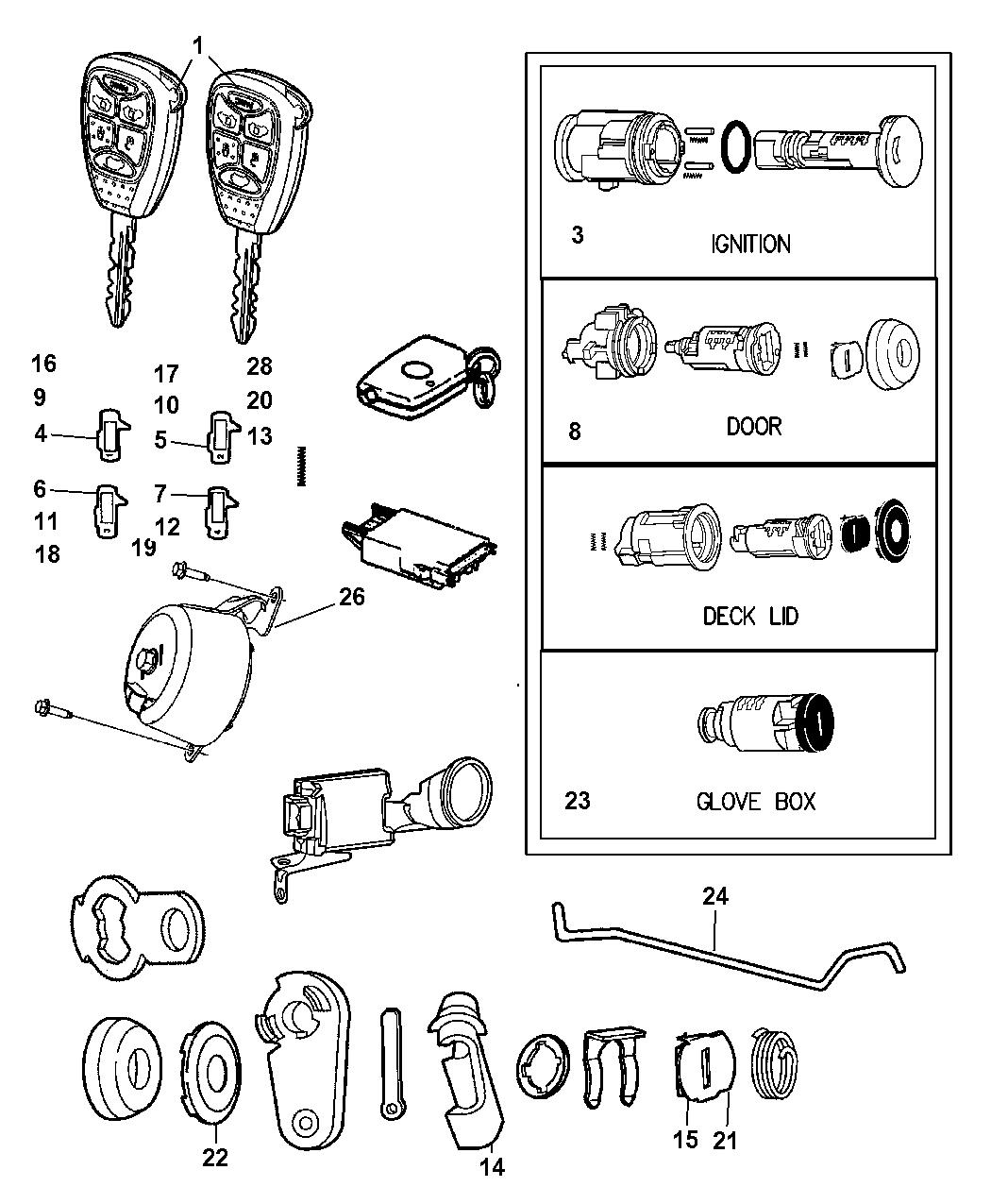 mopar 5179511aa  diagram of chrysler lock cyl #10