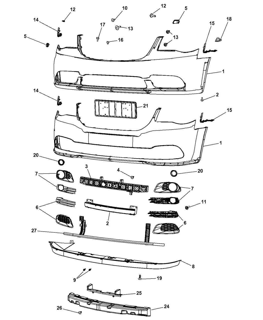 68213436AB  Genuine Chrysler BRACKETLICENSE PLATE