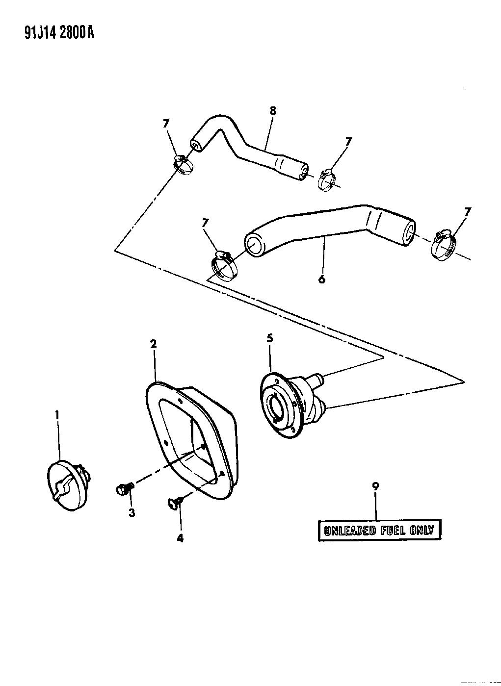 1991 jeep wrangler fuel tank filler tube