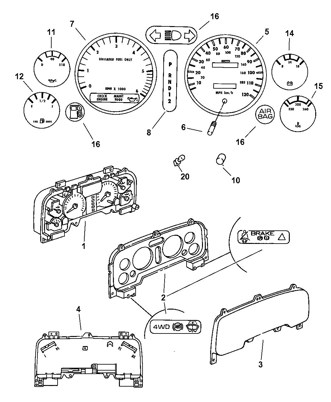 1997 Dodge Ram 1500 Instrument Cluster