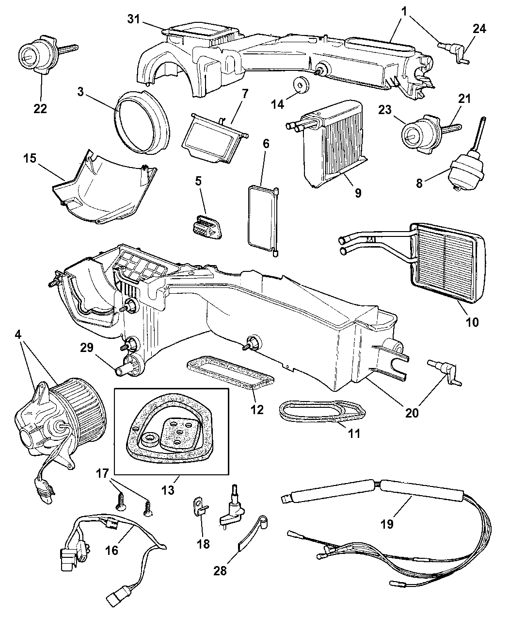 2001 jeep cherokee heater diagram 4874046 - genuine jeep core a/c-heater 97 99 jeep cherokee heater diagram