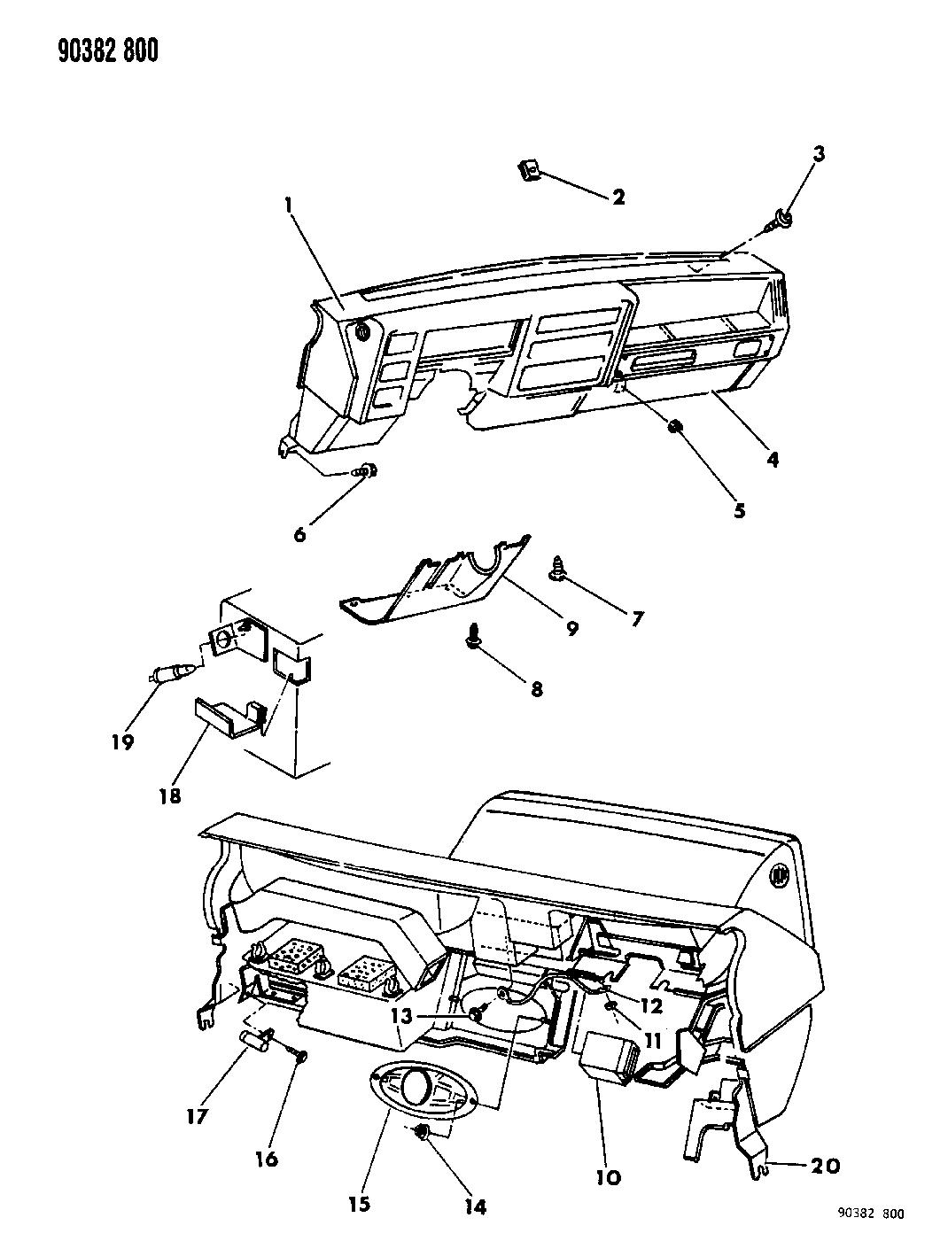 1993 Dodge Dakota Instrument Panel Glove Box - Panel