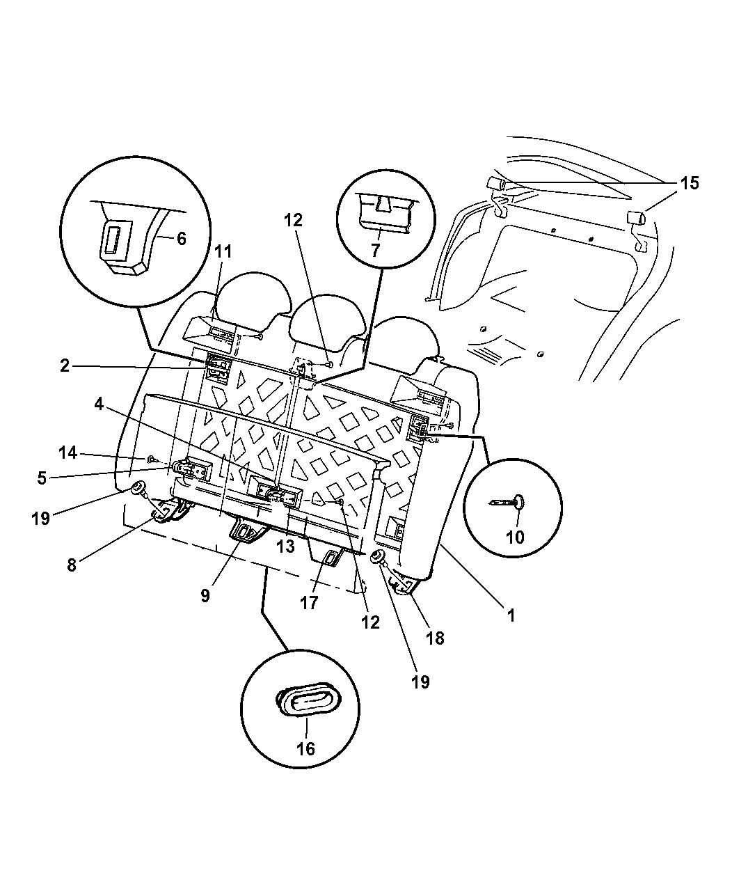 2003 Dodge Neon Rear Seat - Attaching Parts - Mopar Parts Giant