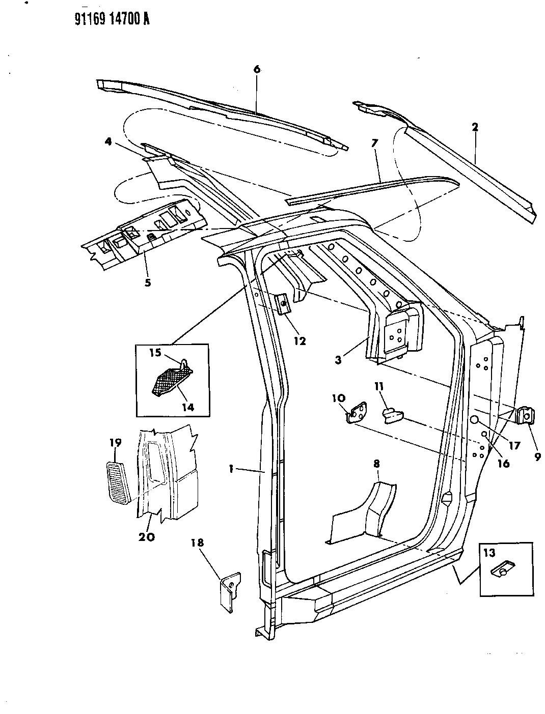 1991 Dodge Caravan Body Front Pillar Aperture Panel Fuse Box