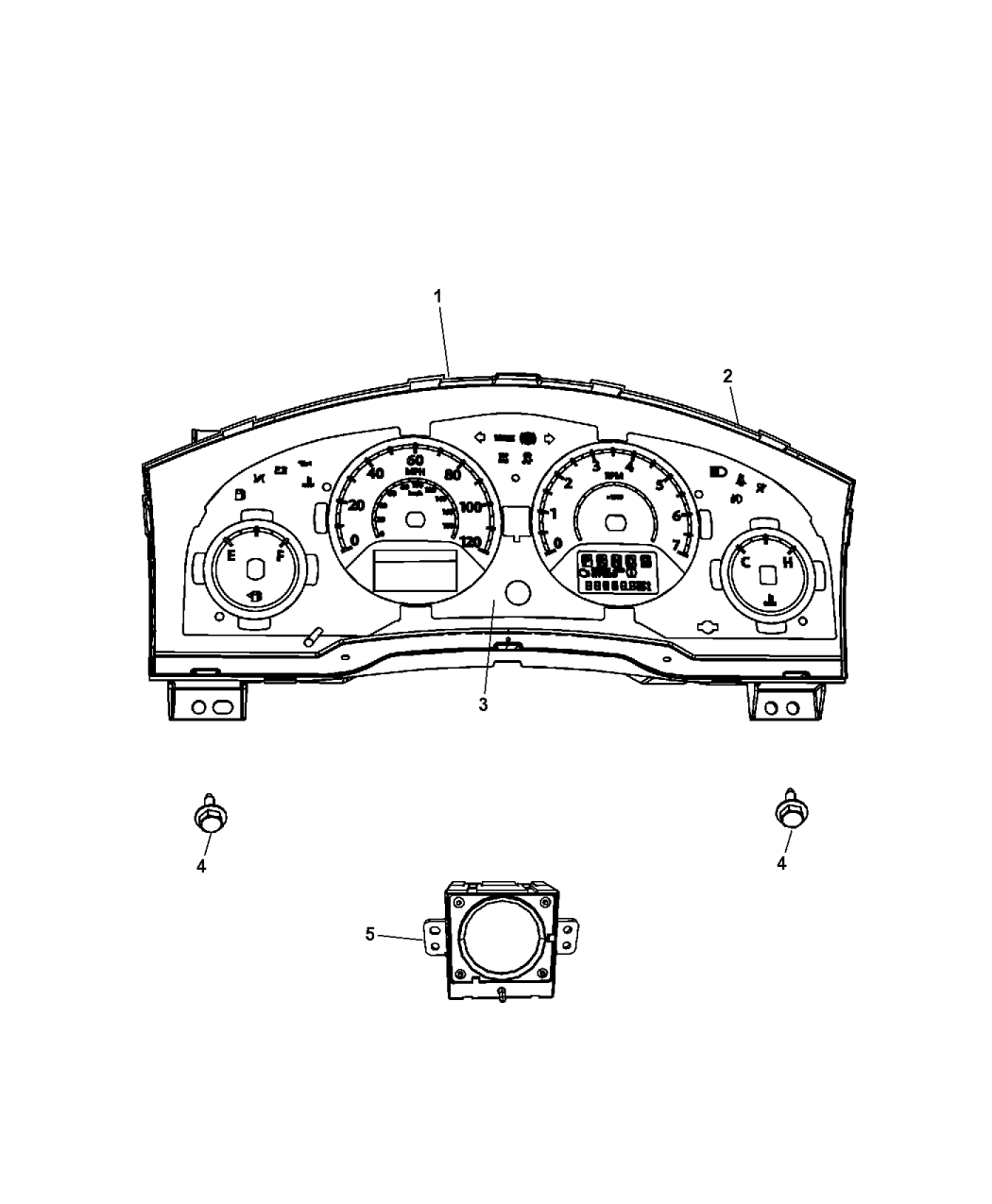 2015 Dodge Grand Caravan Instrument Panel Cluster