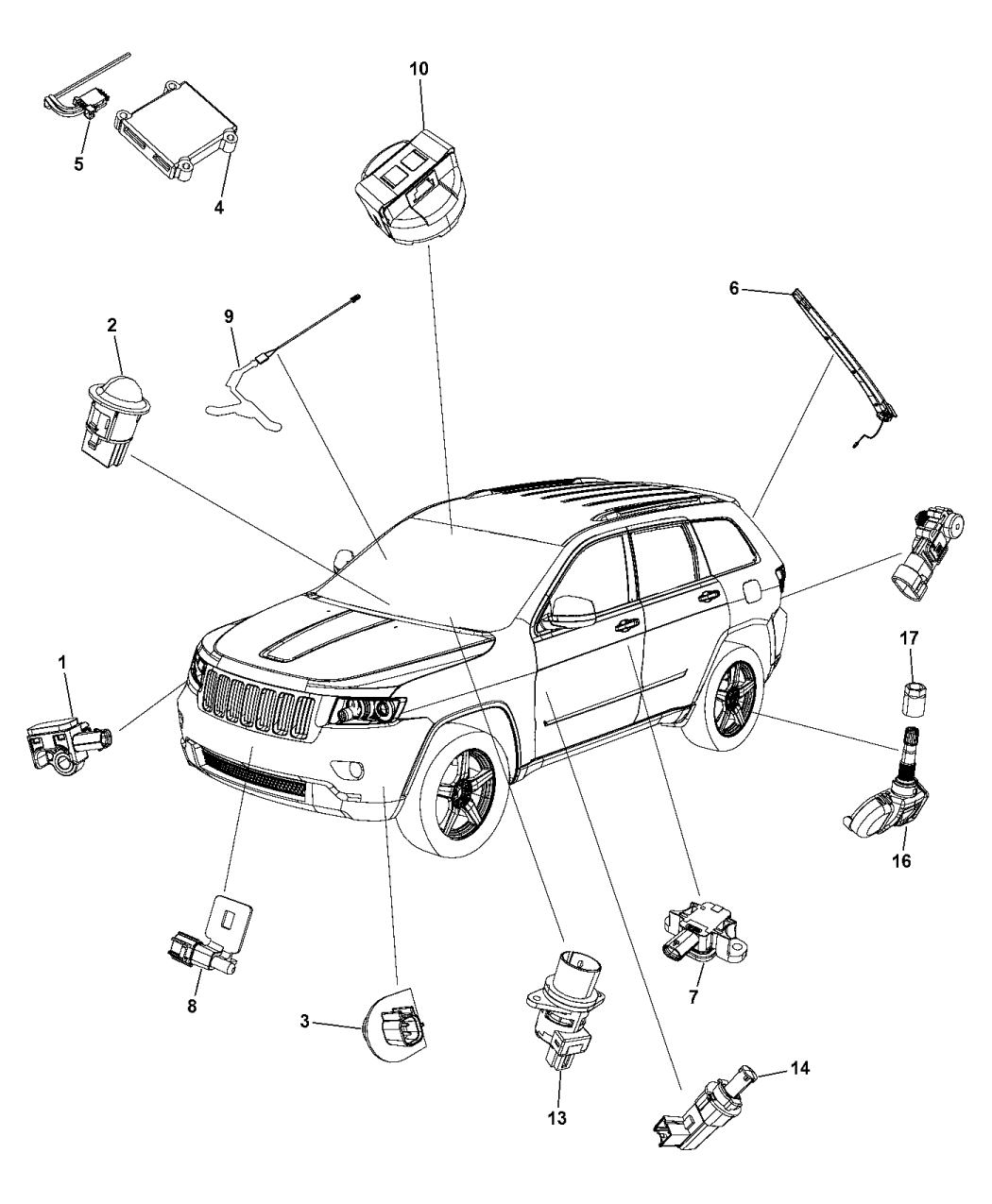 2016 jeep grand cherokee sensors - body