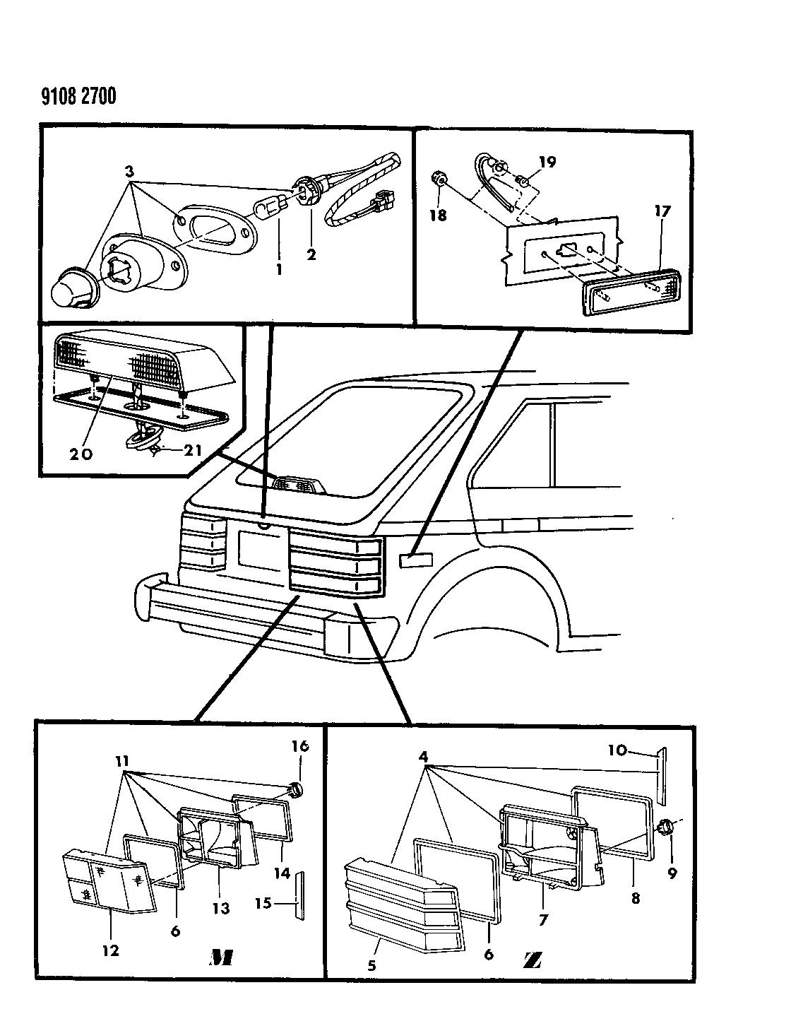 1989 Dodge Omni Lamps Wiring Rear Mopar Parts Giant Diagram