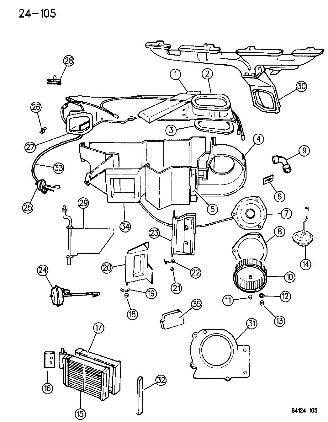 1994 chrysler lebaron gtc heater unit