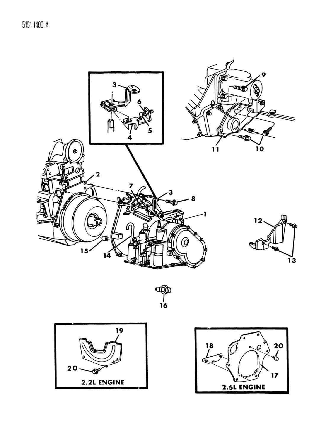 [TBQL_4184]  1985 Chrysler New Yorker Transaxle Assemblies & Mounting | 1985 Chrysler 2 2l Engine Diagram |  | Mopar Parts Giant