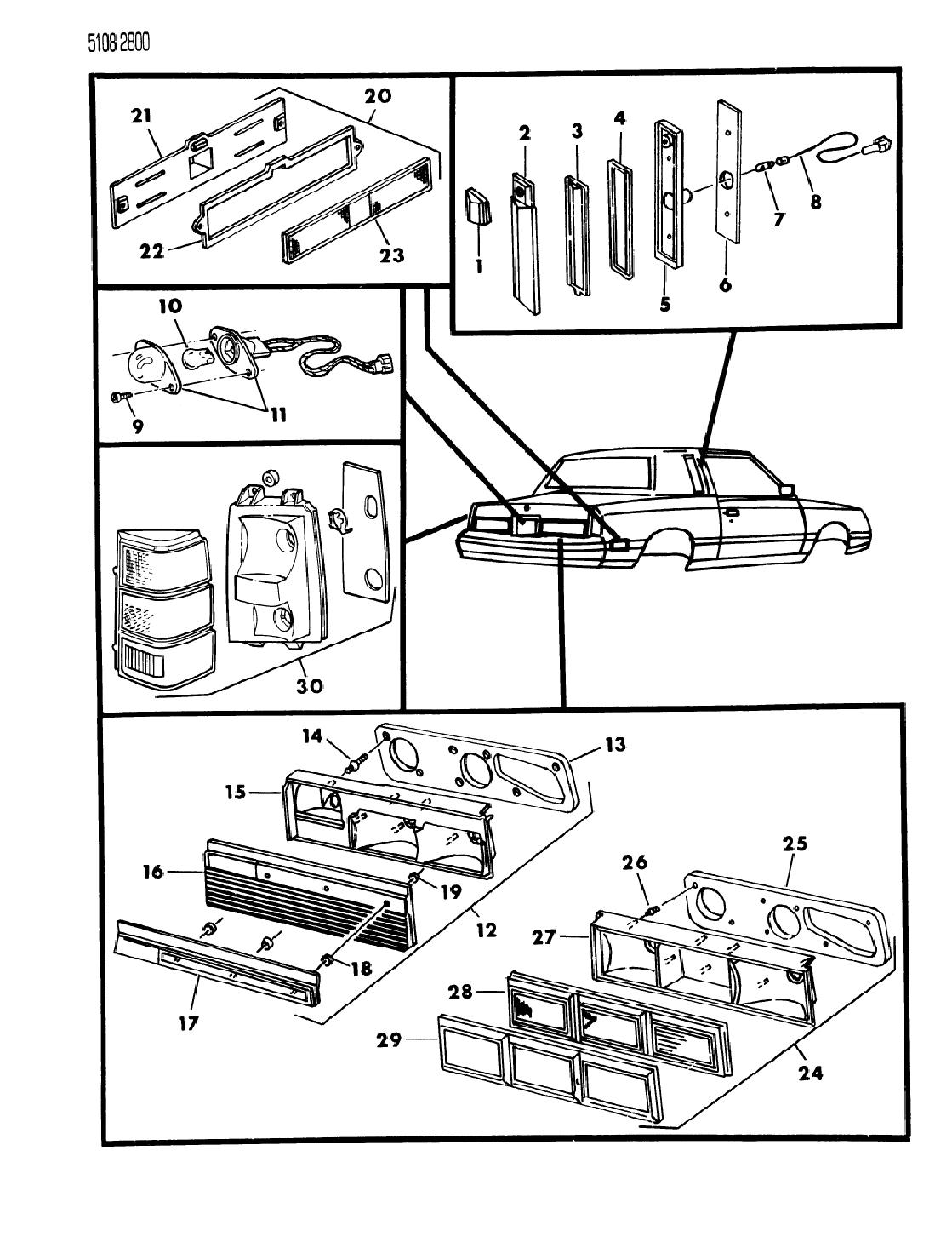 1985 Chrysler Laser Lamps & Wiring - Rear - Mopar Parts Giant
