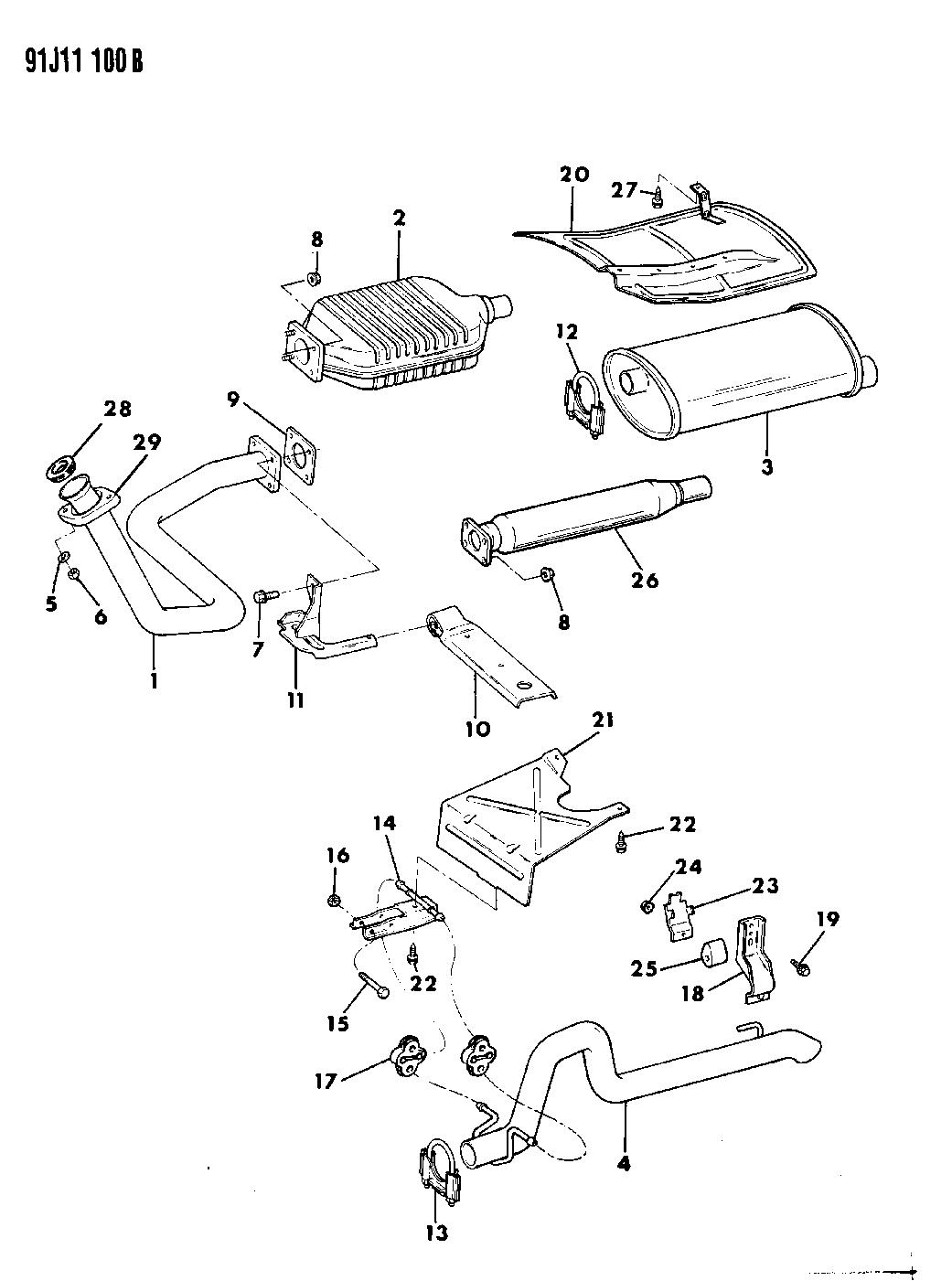 E0015773 Genuine Jeep Converter Catalytic 1991 Wrangler Engine Diagram Exhaust System
