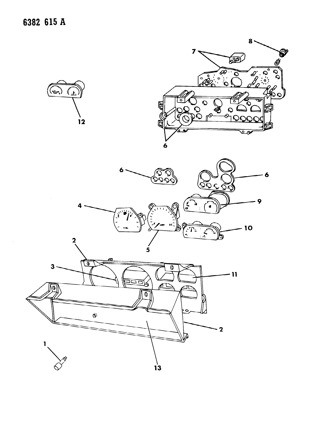 1987 Dodge Dakota Instrument Panel Cluster