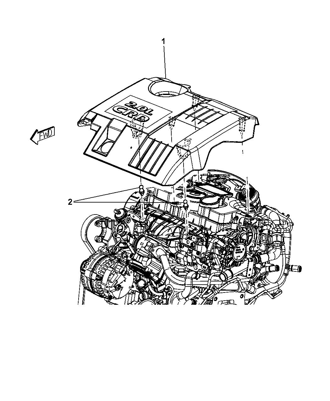 2009 Dodge Journey Engine Cover Related Parts Sxt Diagram Thumbnail 3