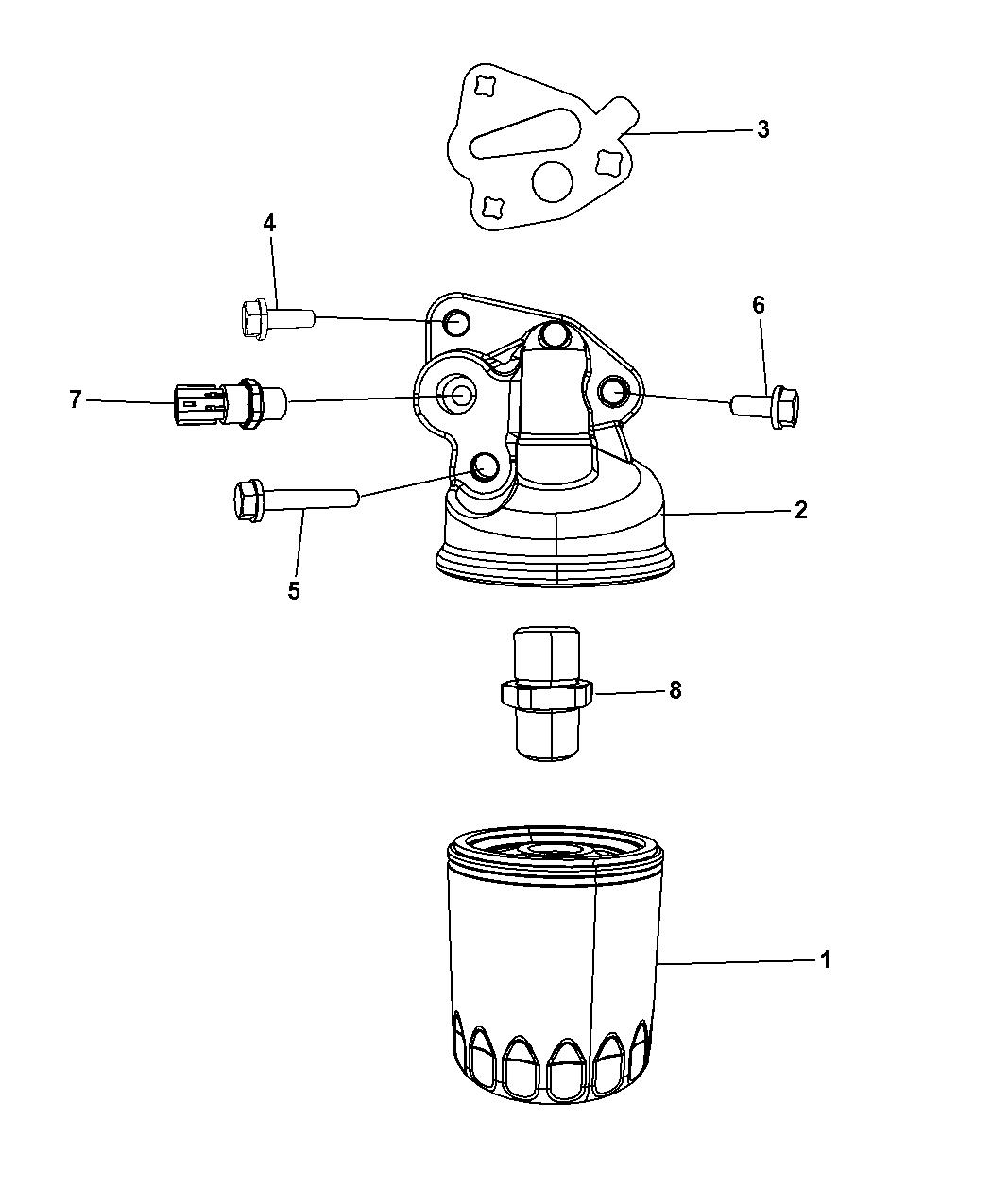 2008 Chrysler Pacifica Engine Oil Filter, Adapter & Splash Guard -  Thumbnail 1
