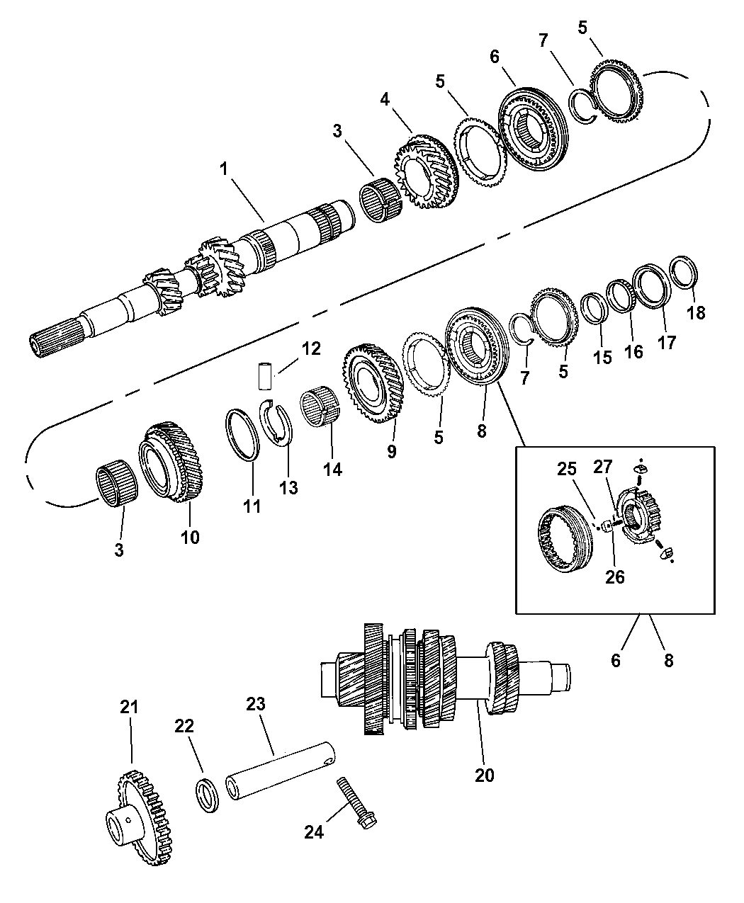 2004 Dodge Neon Gear Train of Manual Transmission