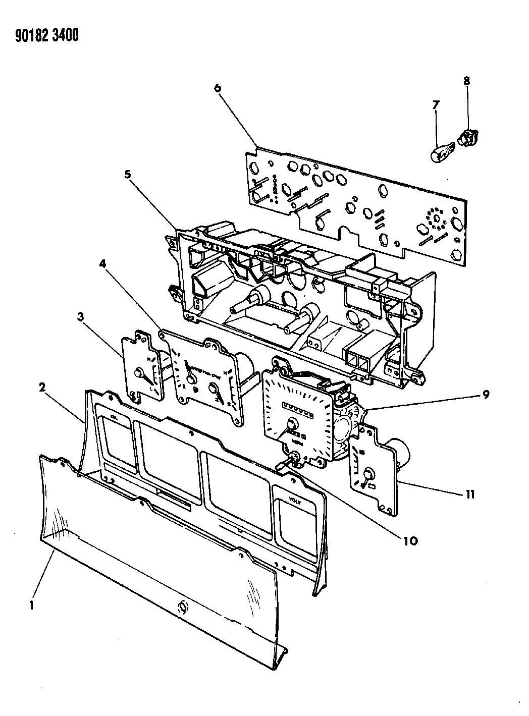 1990 dodge dynasty instrument panel cluster mopar parts giant rh moparpartsgiant com Dodge Ram Wiring Schematics Dodge Ram 1500 Wiring Diagram
