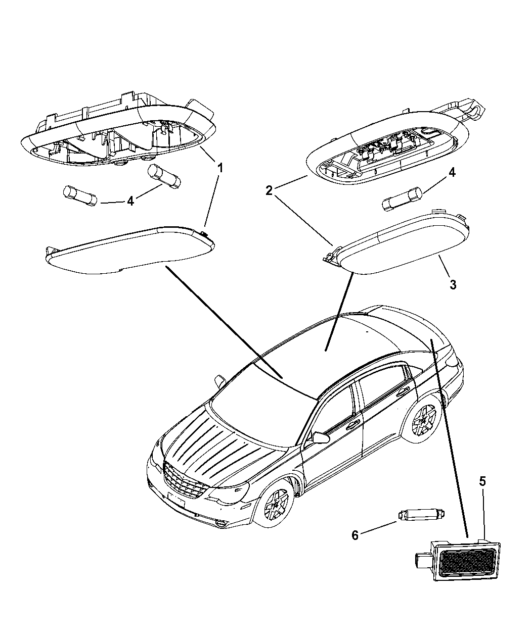 2007 Chrysler Sebring Lamps Cargo Dome Courtesy Trunk
