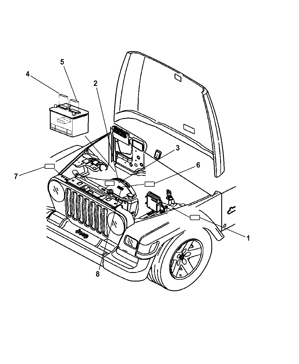 2007 jeep wrangler engine compartment