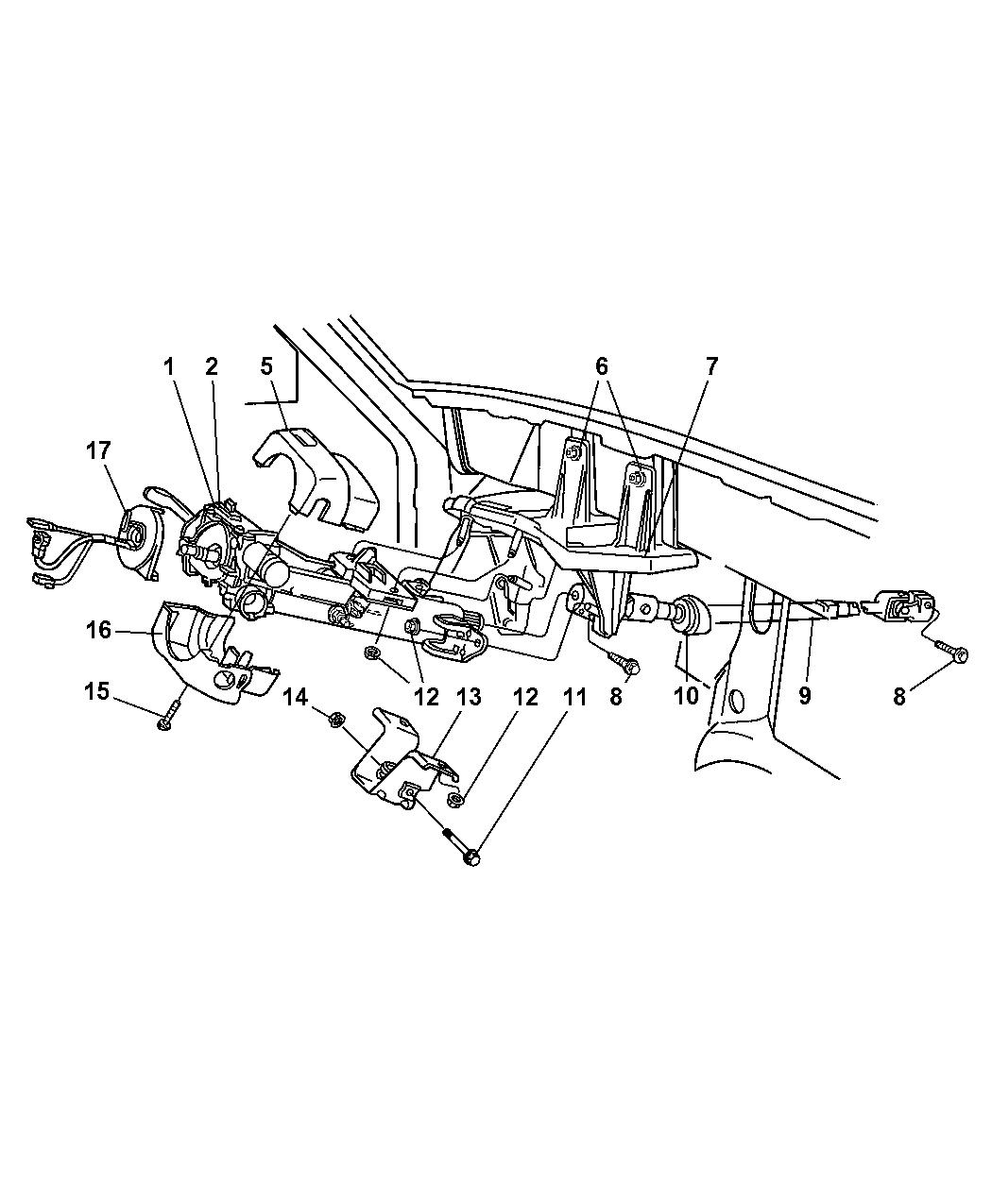 1997 Jeep Cherokee Column, Steering, Upper & Lower