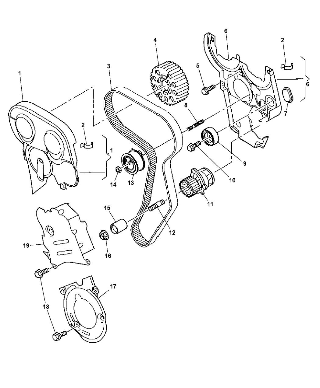 2007 Dodge Caliber Timing Belt Chain Cover Mopar Parts Giant Engine Mounts Diagram Thumbnail 4