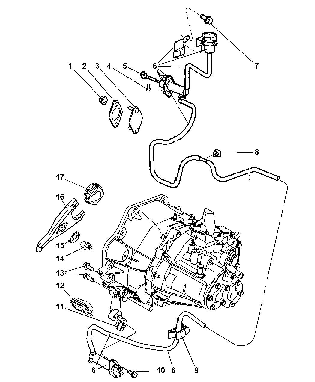2008 Chrysler Pt Cruiser Controls Hydraulic Clutch Engine Diagram Thumbnail 1