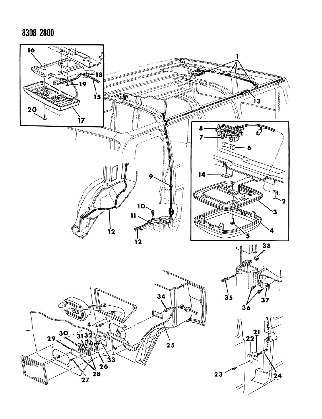 1988 Dodge Ram Van Lamps Wiring Dome Courtesy Reading Diagram