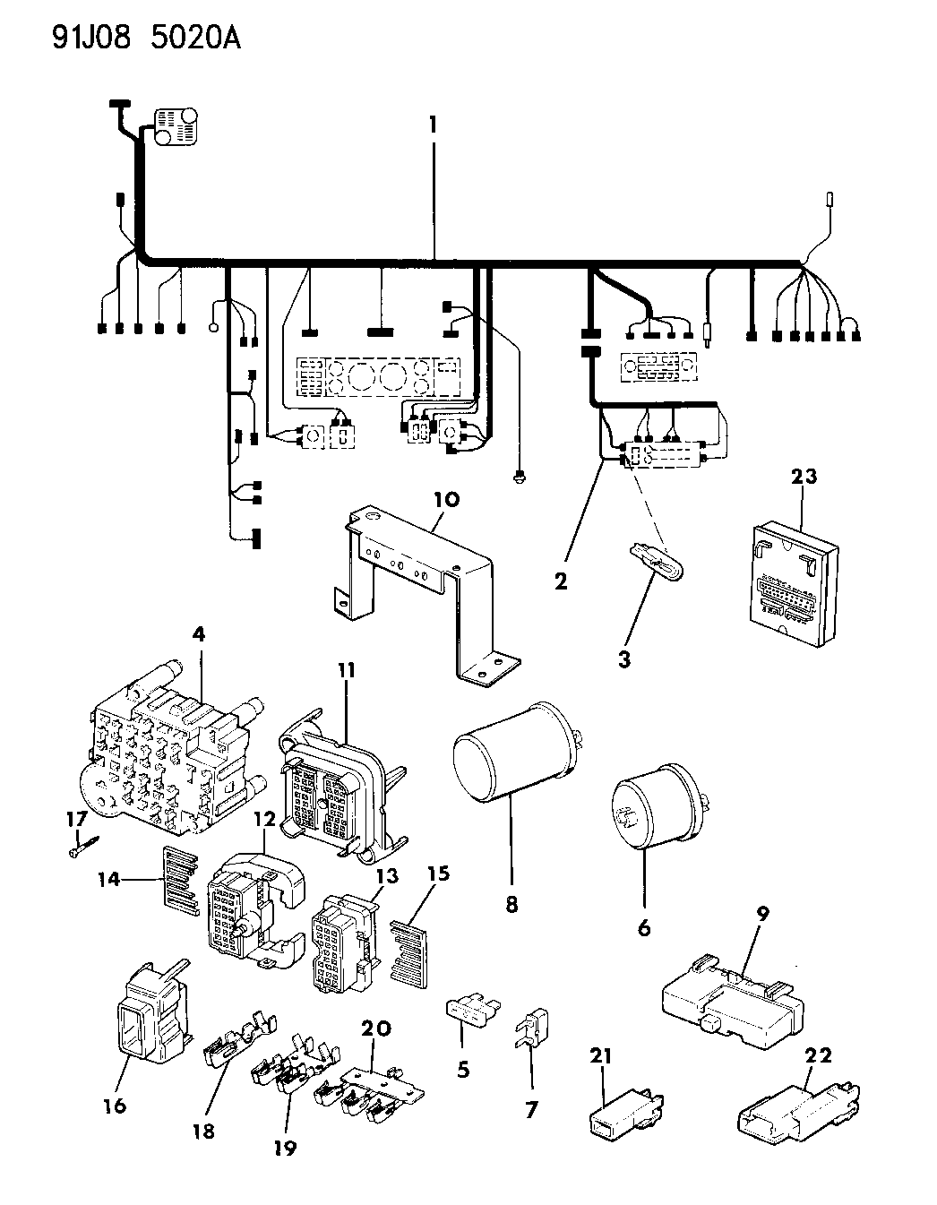 1992 jeep cherokee wiring - instrument panel - mopar parts ... 1992 cherokee fan wiring diagram #15