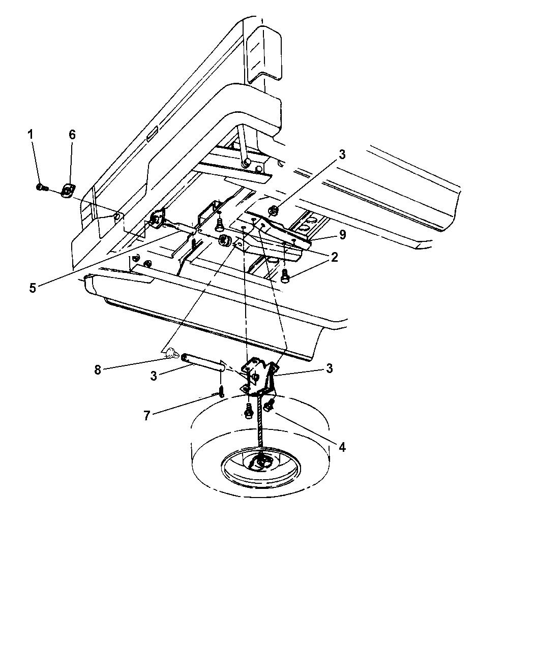 2000 Dodge Dakota Spare Wheel, Underbody Mounting