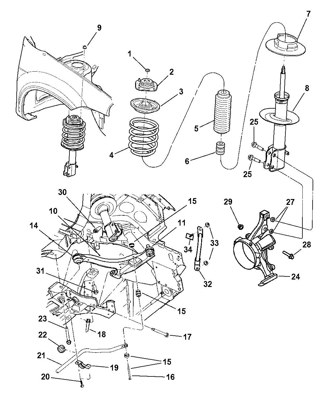 4656694ac - genuine mopar strut-front suspension dodge neon suspension diagram mazda 6 front lower control arm mopar parts giant