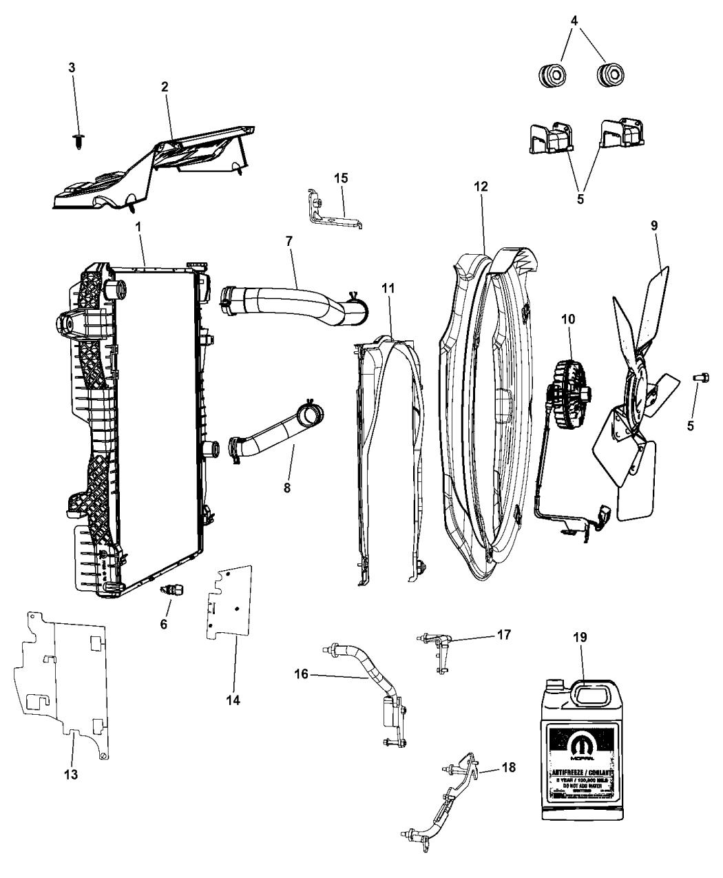 55371021AA - Genuine Mopar SEAL-RADIATOR UPPER