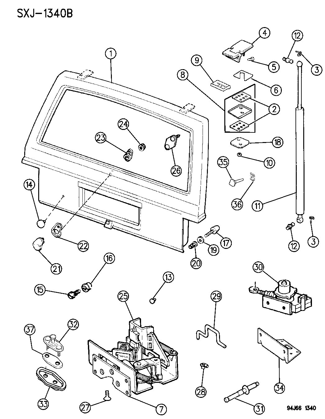 55075204 Genuine Mopar Cylinder Lift Door Support Jeep Latch Diagrams 1996 Cherokee Hinges