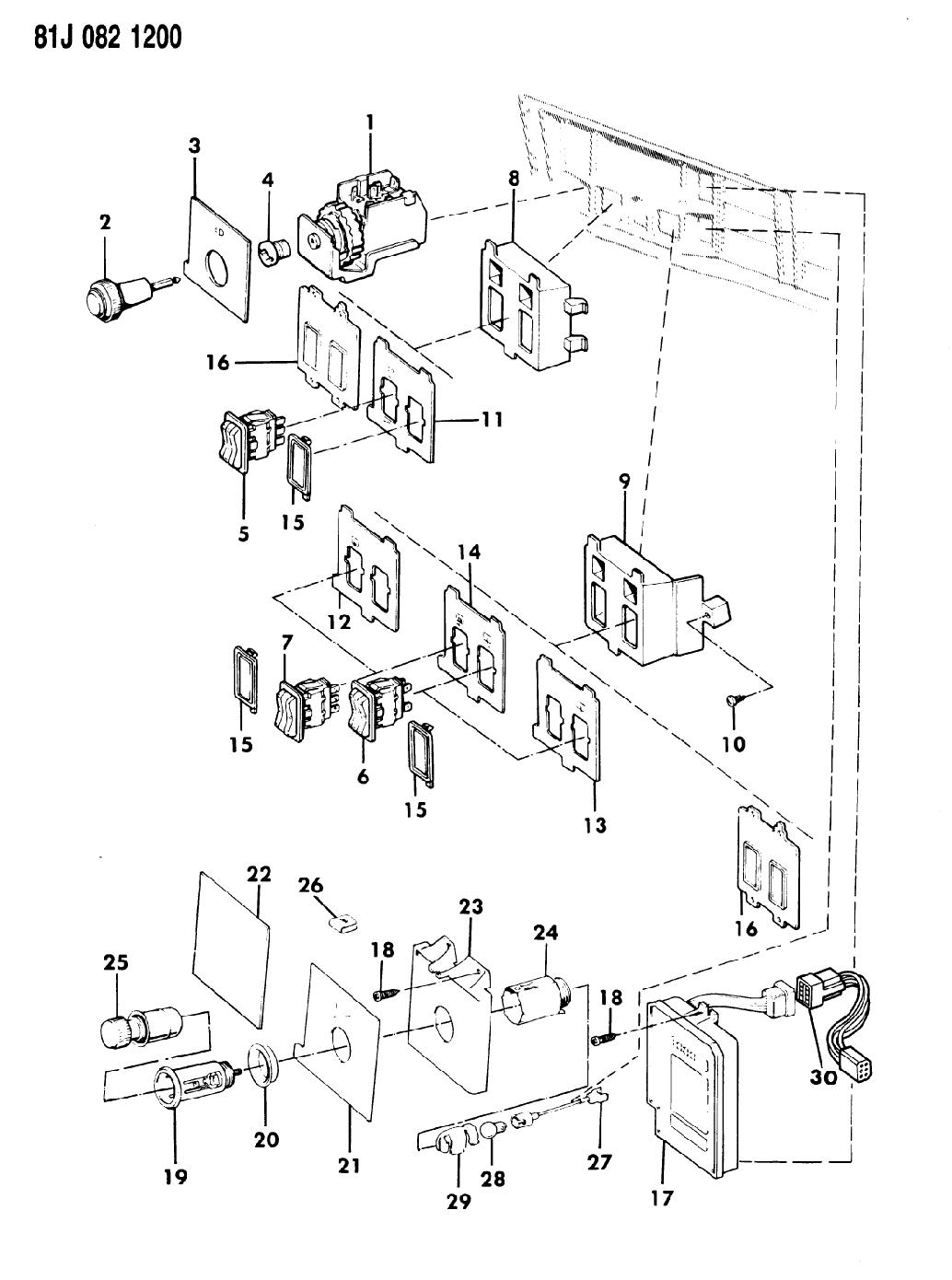1986 jeep comanche instrument panel switches  u0026 cigar lighter