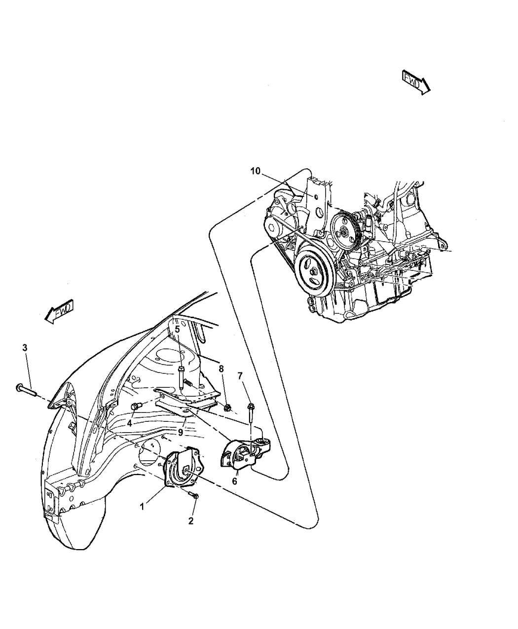 2009 Chrysler Pt Cruiser Engine Mounting Mopar Parts Giant Diagram Thumbnail 8