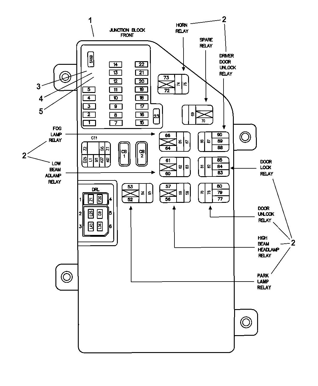 wiring diagram for 2004 dodge intrepid 2004 dodge intrepid junction block relays and fuses  2004 dodge intrepid junction block